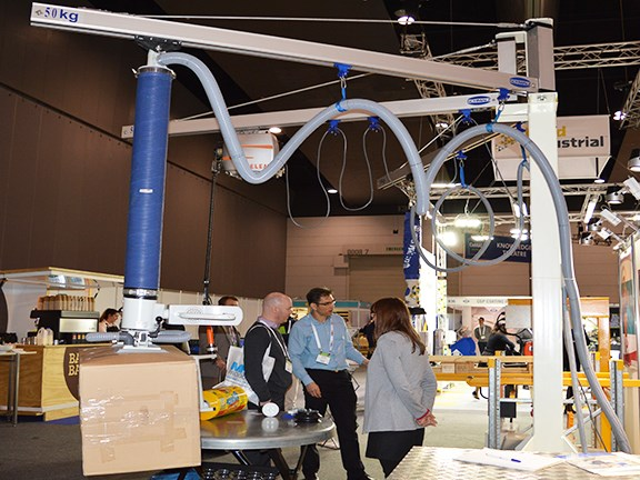 The Schmalz Jumboflex vacuum tube lifter in action at the CeMAT materials handling expo in Melbourne.