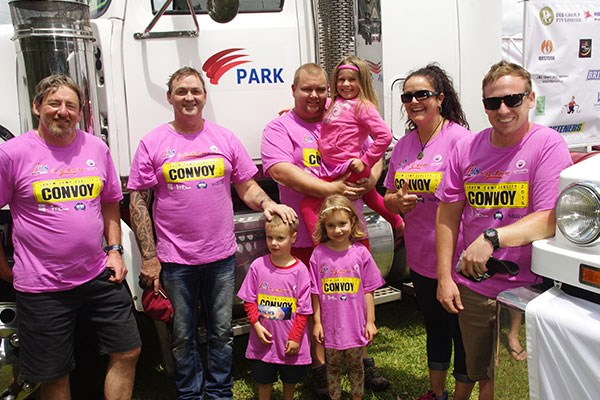 "The Park Fuels team had four Western Stars in the convoy. Left to right: Stewart Moore; Neil Midgley; Nathan Heath with daughter Isabel, nephew Bailey and stepdaughter Amelia (standing); Sharon Midgley. Also on board was Michael Franke (far right) from Sydney Truck Centre in Milperra. ""I've got to be careful about what I say about Western Stars, 'cause [Michael] lent me a truck this weekend,"" Stewart laughed."