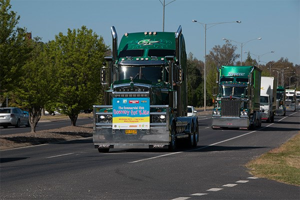 Lead truck, Churchill Transport's 2015 Kenworth 909; followed by Truck of the Show, Dawson's Haulage's 2013 Kenworth 909.
