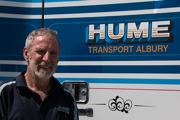 Terry Newey has driven for Hume Transport for 24 years. He drove a 2011 Freightliner Coronado in the convoy.