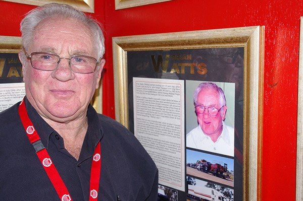 Brian Watts and his plaque on the Shell Rimula Wall of Fame.