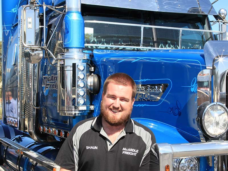 Shaun Wood from McArdle Freight drove a Western Star down from Bute. It was the only blue truckin an otherwise all-white fleet.