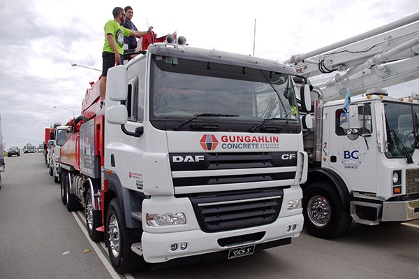 The convoy proved to be a run home for Gungahlin Concrete's DAF CF.