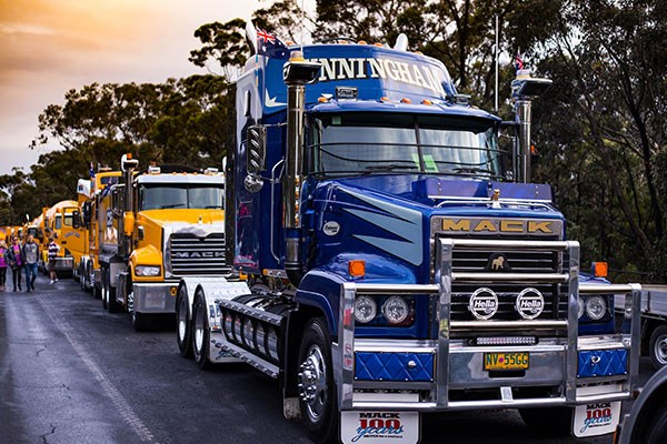 Top dog: Brett Cleary's fully restored Mack Trident 'Centennial' leads the Cleary Bros line-up at Illawarra's 2015 i98FM Camp Quality Convoy.
