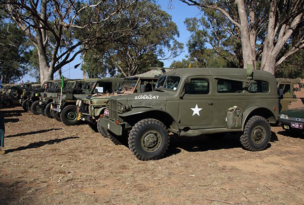 Military vehicles on display at the Corowa Showgrounds.