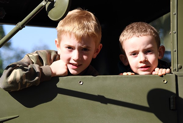 Luke, left, and Michael Johnson of Wagga Wagga, NSW, aboard a Cab 12 Ford Blitz.