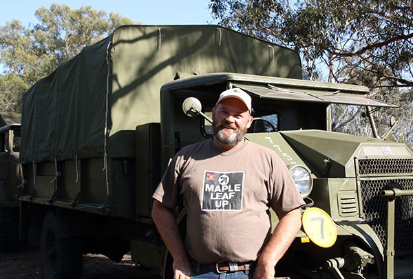 Tony Elliott of Ganmain, NSW, with his 1941 Ford CMP Blitz F60L Cab 12.