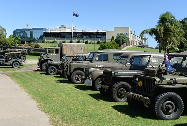 Military vehicles travelled from Corowato Mulwala for a display on March 12. Photograph courtesy Les Garbutt.