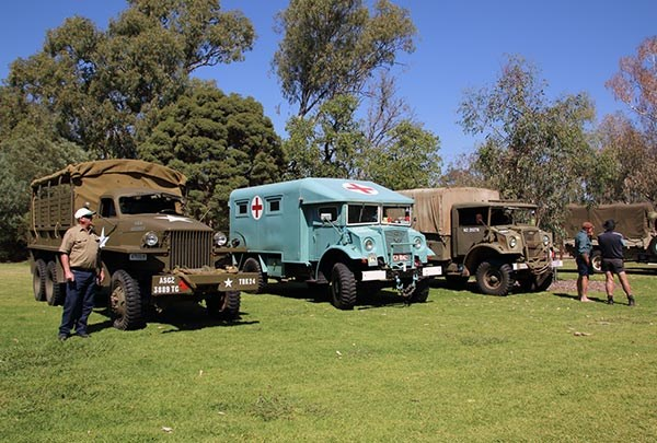 Trucks on display in Albury after a parade through the city.