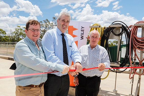 From left to right: Wiley business operations manager for regional Queensland Michael Matthewson, Western Downs Regional Council mayor Ray Brown, and councillor Greg Olm officially open to new Dalby Washdown Facility.