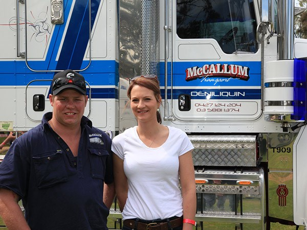 Local owner-driver Brad McCallum with Lexie Hall and his T909.
