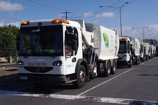 Cleanaway's fleet of Dennis trucks tagged along.