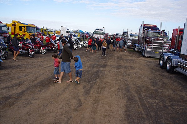 Trucks and bikes at the ready to depart from Avalon.