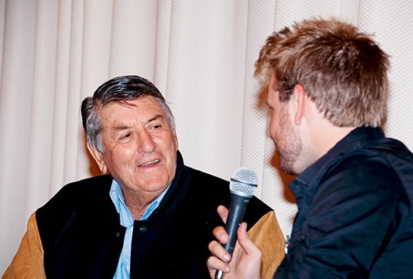 Haulin' the Hume's youngest committee member Richard Cant interviewed trucking legend Sunny Warby during the Yass dinner.
