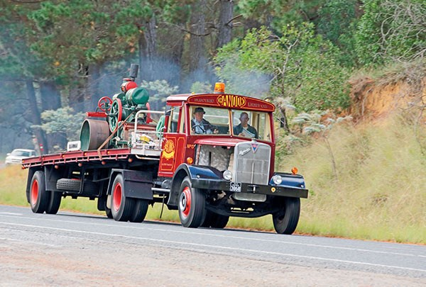 Ian Fordyce's 1951 AEC Matador was originally used to clean Sydney streets and has a top speed of about 50km/h.