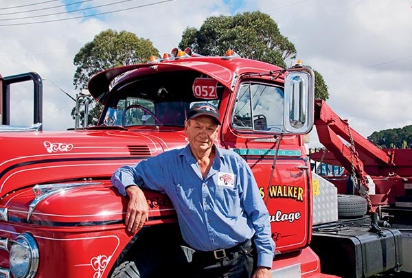Des Walker at Goulburn with his restored Diamond T.