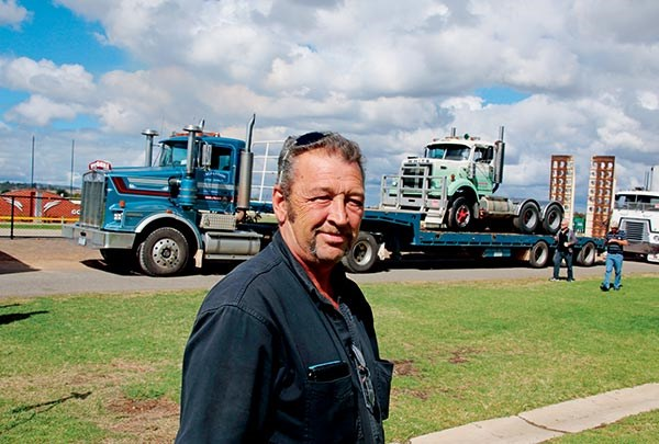 Roger Marchetti drove Grub Campagnolo's Kenworth T650, piggybacking a White Road Boss which has been in the Marchetti family since it was purchased new by his uncle Frank Marchetti in 1974