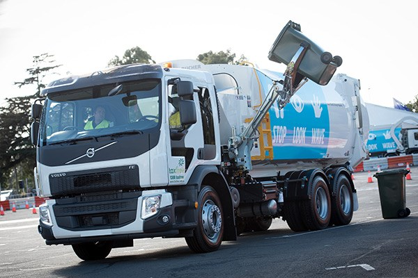 The new Volvo FE dual control in action at the Melbourne Truck Show.
