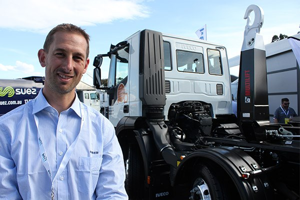 Iveco's Joel Read with a clear-back-of-cab 8x4 Stralis.