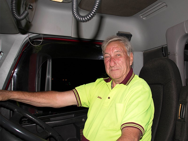 Homeward bound – John King returns to Sydney loaded with cars. Photo by Tamara Whitsed.
