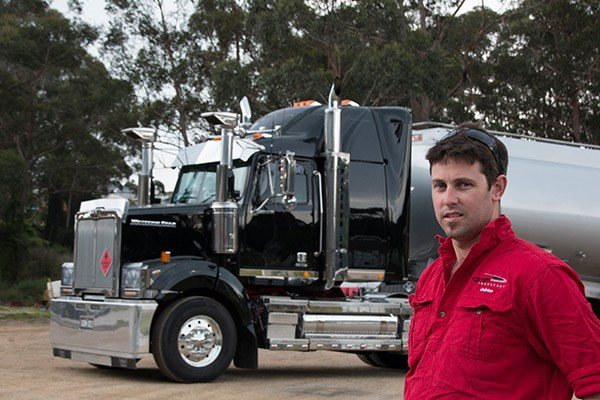 Quinten Mathie with his 2014 Western Star 4800FXB which carts fuel in New South Wales.