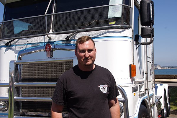 Shane Lamborn, who drives a '98 K100K for Maddox Haulage, found a waterfront parking spot.