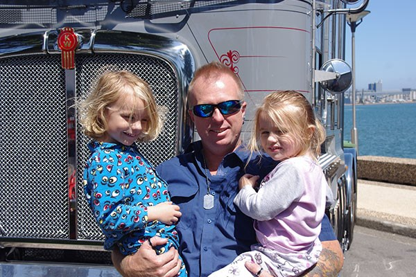 "Lee Duce with his children Bailey, left, and Leilani. ""They're still in their pyjamas,"" Lee explains."