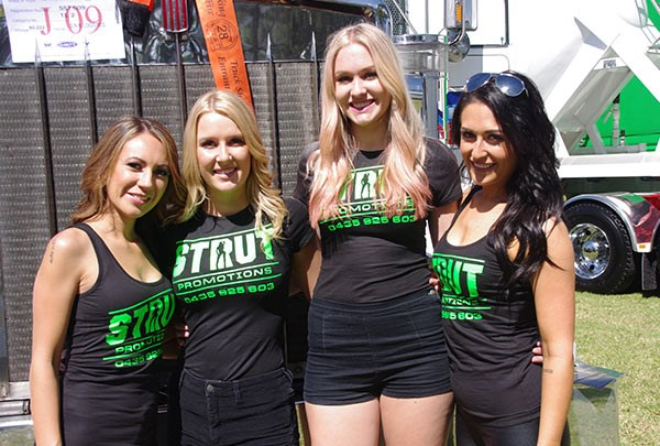 The Strut Promotions girls, left to right, Coralie, Ainsley, Lara and Rebecca were at Penrith for SNR Logistics.