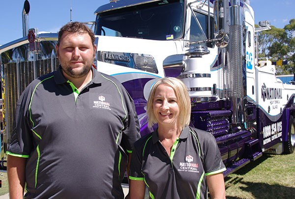 Lisa Lloyd and Jason Burton drove down from Newcastle in a National Heavy Towing Kenworth T909.