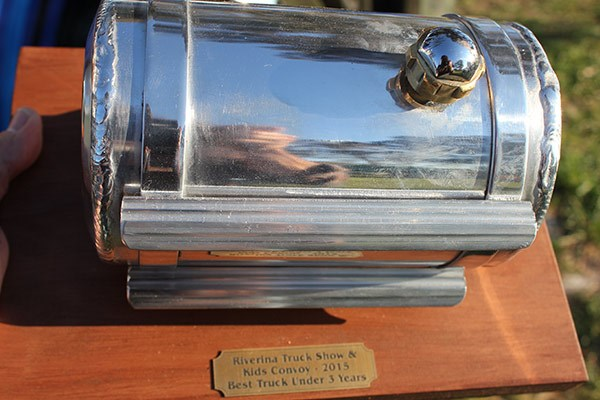 Miniature fuel tank trophy, made by sponsor Royan Truck & Trailer Repairs.