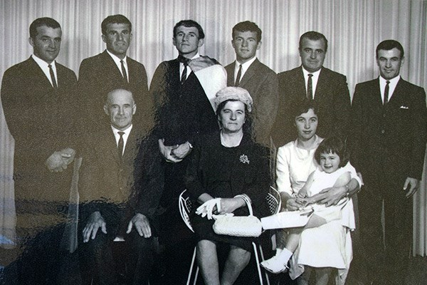 The Sali family in the mid-1960s. Back from left: Bill, Haset, Avni, Hismet, Sam and Alan. Front: Sabri, Hyri, Nina and baby Vivien.