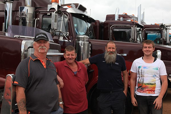 The Abrehart Transport crew, from left, Gary van der Tak, Allan Fricke, Gary Abrehart and Michael Fricke.