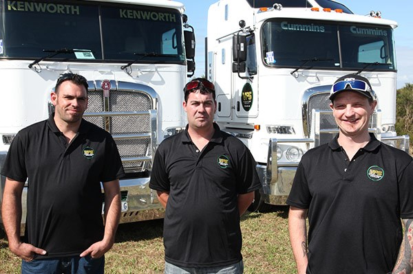 From left, Daniel Miles, Matthew Tatt and Rob Hogan from Victorian Freight Specialists.