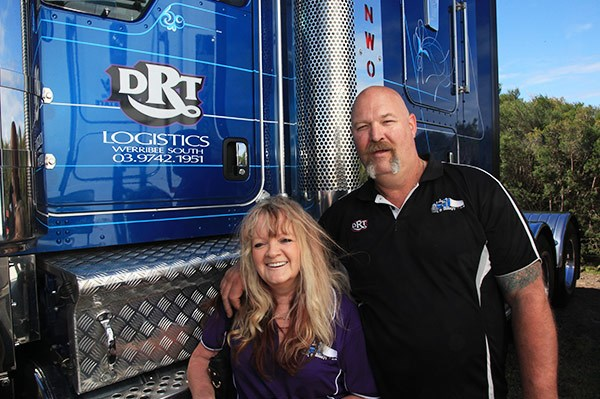DRT Logistics driver Darren Marcus, with wife Debbie. Darren drove a Kenworth T909, one of the few road train-rated prime movers to Tooradin.