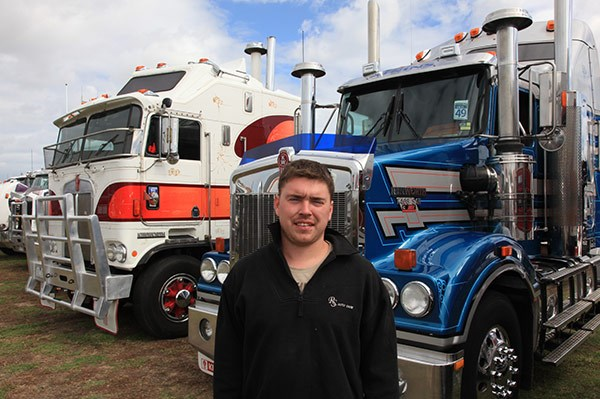 Shane Wilkey with his 1985 Kenworth Aerodyne and Pete Atkins' T409 SAR.