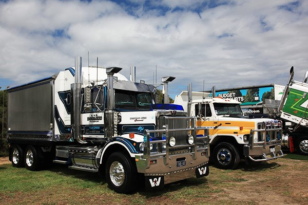 A & K Dorling Transport's Western Star, left, winner of the Best Tipper 9 years and over award.