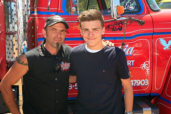 Mario Doria and son John, who won the Best Rig 6 Years and Over award with their Ford F900.