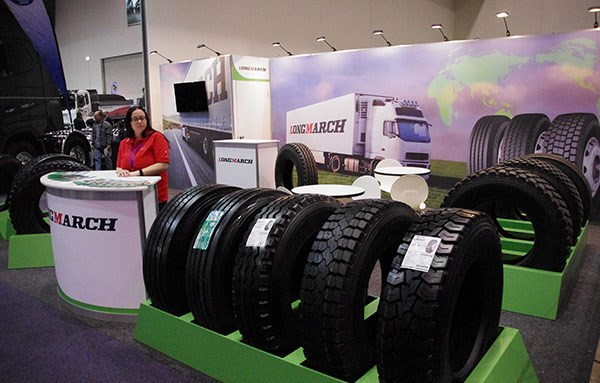 The Longmarch stand showed off its range of Chinese-manufactured steer, trailer and drive tyres.
