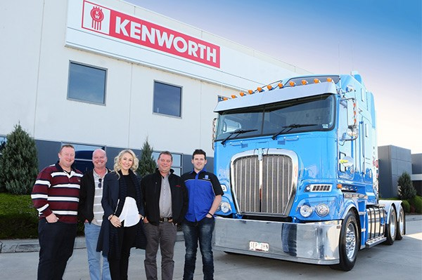 From left, owner Wayne Hawkes, some bald dude aka Matt Wood, manager Jane Hawkes, Kenworth salesman Ron Ludbrook with operations manager Dayne Ilse and my truck.