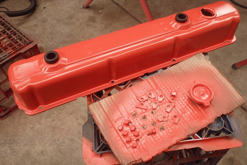 engine parts painted