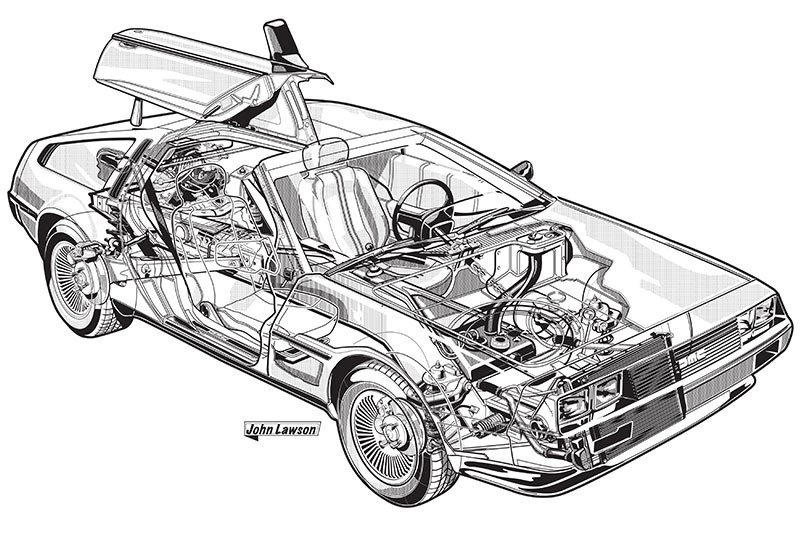delorean dmc 12 sketch