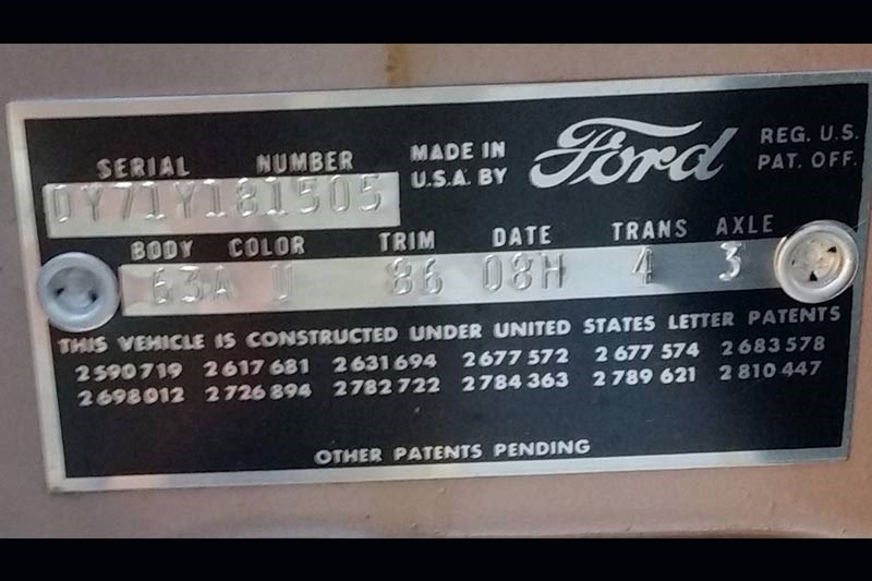ford thunderbird plaque