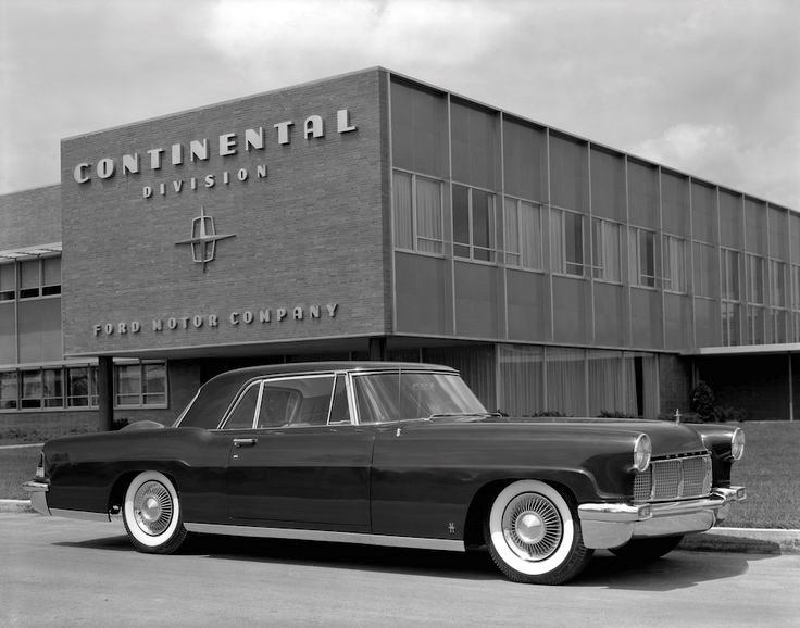 A 1956 Lincoln Continental Mark II in front of the Continental Division HQ