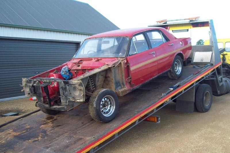 ford falcon on tow truck