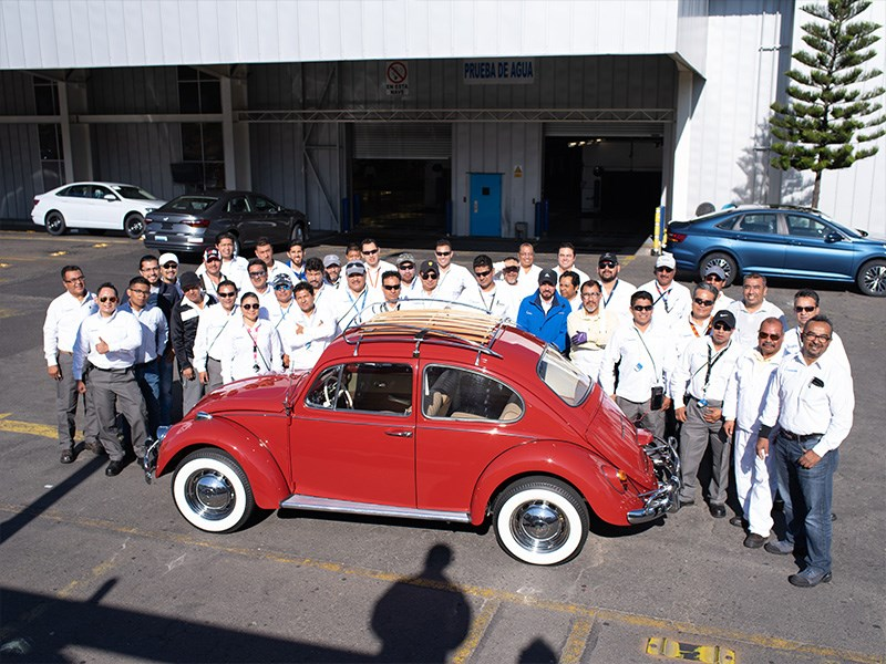 Annie the Beetle at the factory