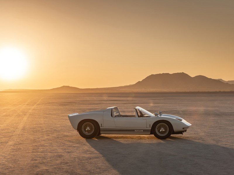 GT40 roadster for auction side sunset