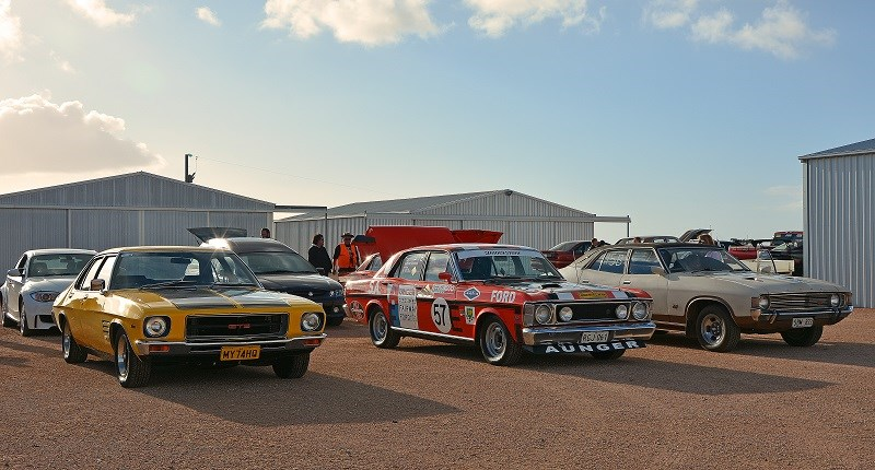 009 organisers Holden HQ Monaro GTS Rachel Carson and XW Falcon GT Bathurst Aunger replica Kevin May