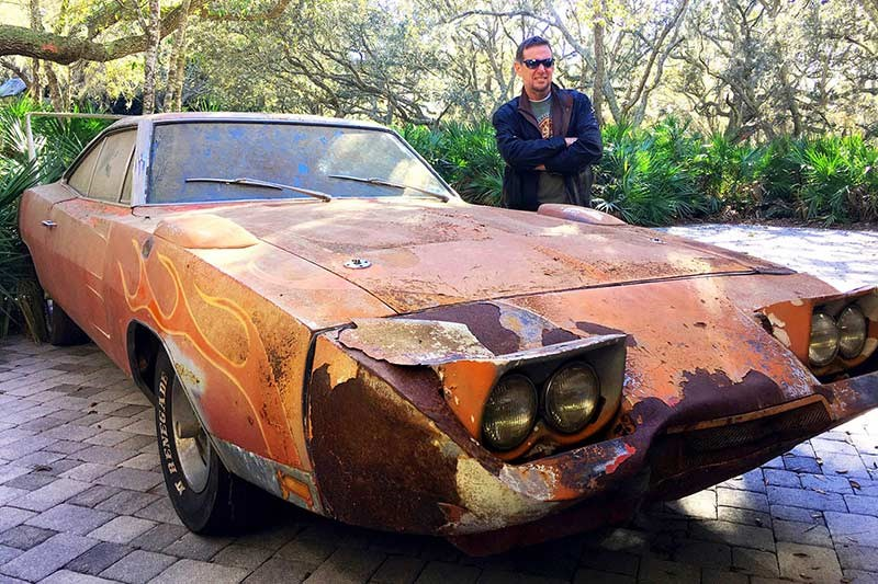 1969 dodge charger daytona barn find new owner jim norman