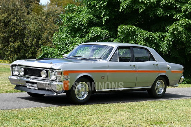1970 Ford XW GT-HO Phase II sedan. SOLD $110,000