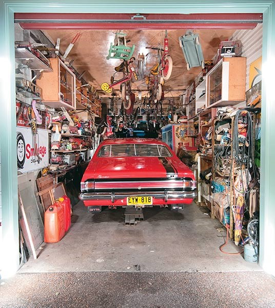 Ron's treasure trove garage with the main exhibit front and centre